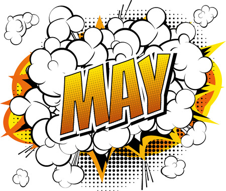 May - Comic book style word on comic book abstract background.