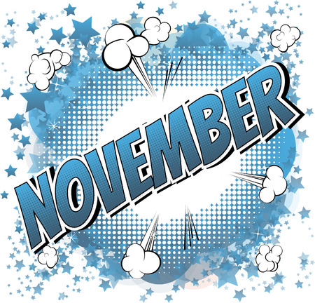 November - Comic book stijl woord over stripboek abstracte achtergrond.