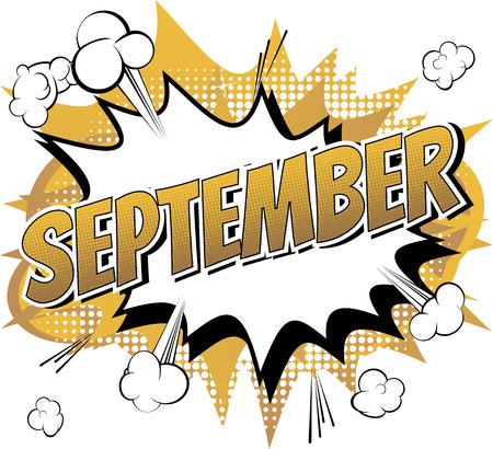 September - Comic book stijl woord over stripboek abstracte achtergrond.