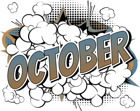 October - Comic book style word on comic book abstract background. Vettoriali