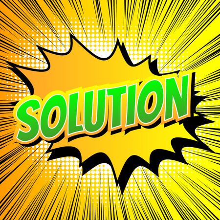 Solution - Comic book style word on comic book abstract background.