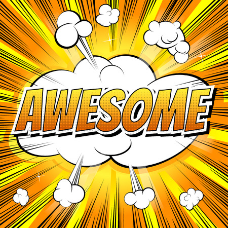 Awesome - Comic book style word on comic book abstract background. Vettoriali