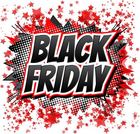 블랙 프라이데이 - 만화 추상적 인 배경에 만화 스타일의 단어입니다.