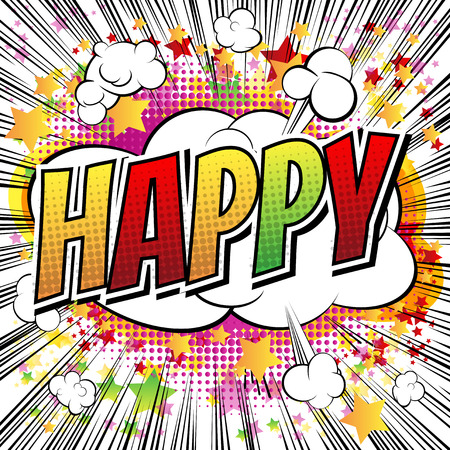 Happy - Comic book style card with abstract background. Illustration