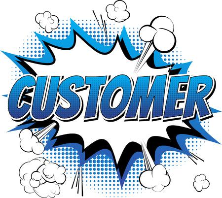고객 - 만화 책 추상적 인 배경에 만화 스타일 단어.