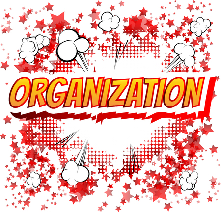 energy management: Organization - Comic book style word on comic book abstract background.