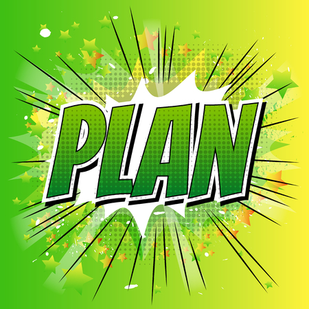 Plan - Comic book style word on comic book abstract background. Stock Illustratie