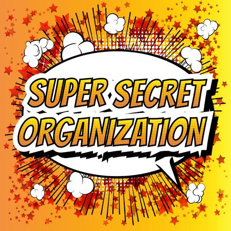 comic: Súper organización secreta - palabra cómico del estilo del libro de cómic de fondo abstracto. Vectores