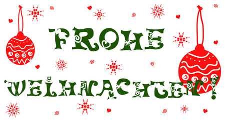 frohe: Frohe Weihnachten, Merry Christmas card in German.