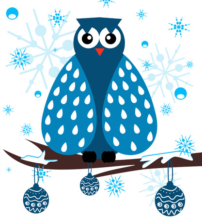 owl vector: Owl on a branch with snowflakes on the background.