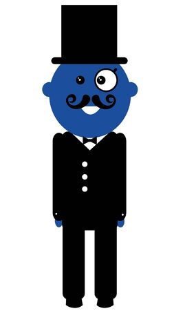blue man: Vector hipster blue man wearing black clothes.