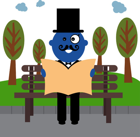bowler hats: Hipster blue men is reading newspaper in the park.