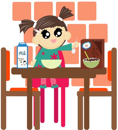 comiendo cereal: La muchacha linda está comiendo el cereal para el desayuno en la mesa. Vectores