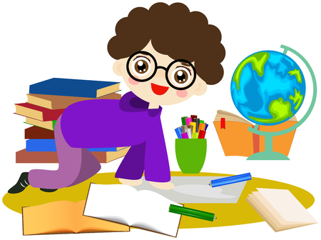 children education: Cute boy is learning and using his globe and books. Illustration