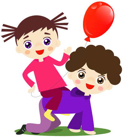 brother and sister cartoon: Cute brother is playing as a horse with his sister. Illustration
