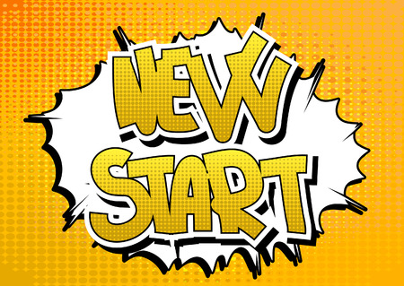 new start: New Start - Comic book style word on abstract background.