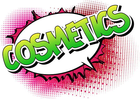 representations: Cosmetics - Comic book style word on comic book abstract background. Illustration