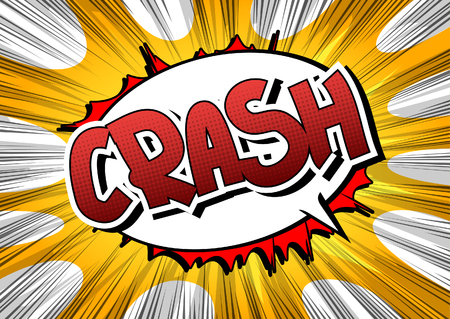 crunches: Crash - Comic book style word on comic book abstract background.