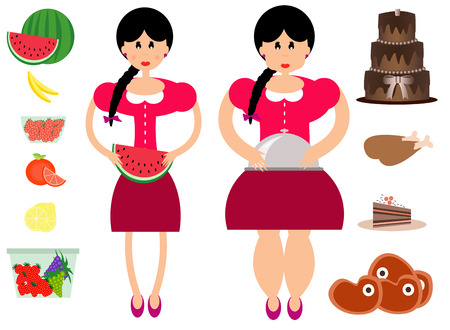 unhealthy food: Fat and thin woman with healthy and unhealthy food.