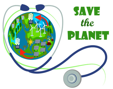 sun energy: Save the planet with Earth globe and stethoscope. Illustration