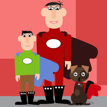 father in law: Vector illustrated cartoon father, son and their dog dressed as a superhero Illustration