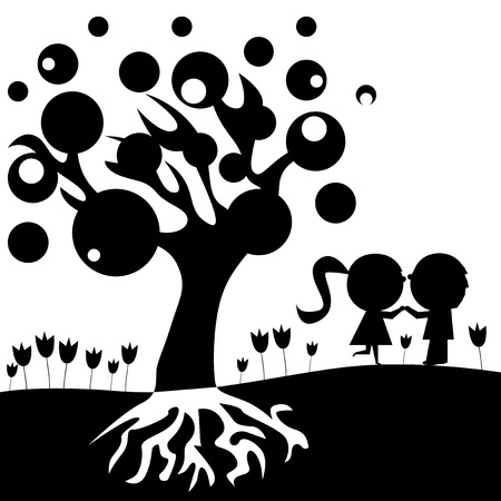 girl in love: Vector black and white illustrated kids in love under a big tree.