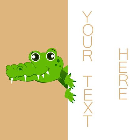 jaws: Vector illustrated cartoon crocodile holding blank paper.