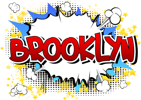 brooklyn: Brooklyn - Comic book style word on comic book abstract background.