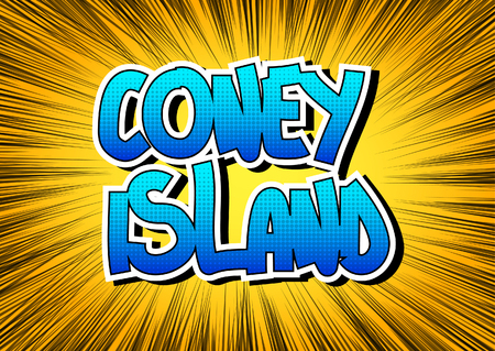 coney: Coney Island - Comic book style word on comic book abstract background.
