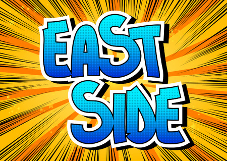 borough: East side - Comic book style word on comic book abstract background.