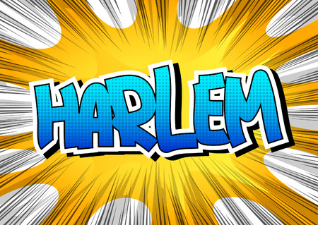 borough: Harlem - Comic book style word on comic book abstract background.