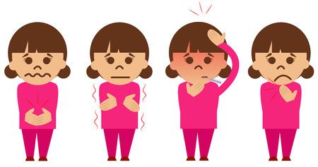 Set von vier Vektor dargestellt kranke Mädchen.