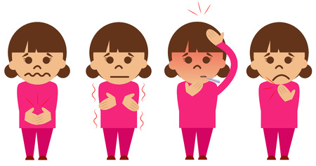 grippe: Set of four vector illustrated sick girls.