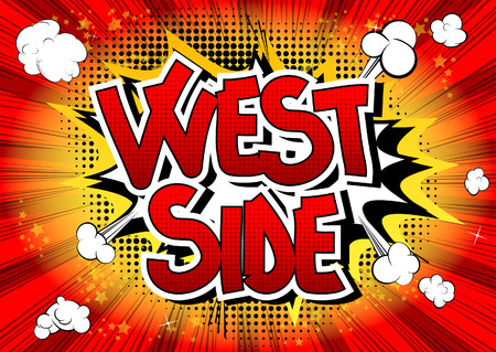 borough: West side - Comic book style word on comic book abstract background.