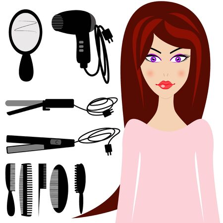 long black hair: Beautiful woman with black hairdresser tools. Illustration