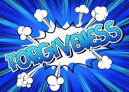 Il perdono - Comic parola di stile del libro di fumetti su sfondo astratto. Vettoriali
