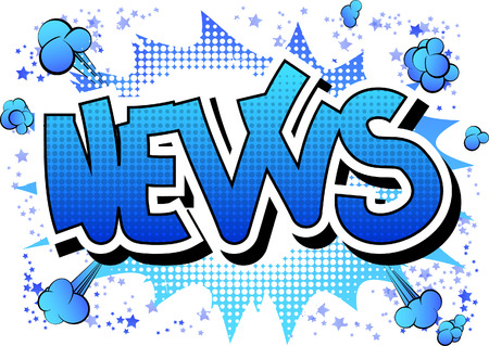 newscast: News - Comic book style word on comic book abstract background.