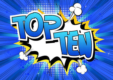 top ten: Top Ten - Comic book style word on comic book abstract background.