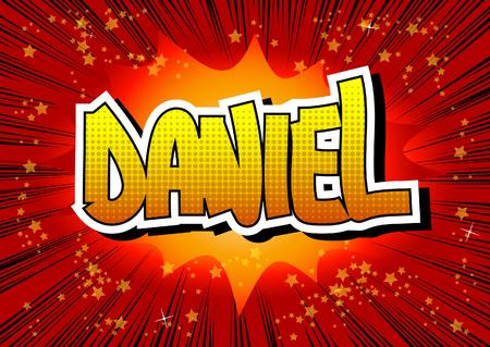 ダニエル - 漫画本の抽象的な背景コミック スタイルの男性名。  イラスト・ベクター素材