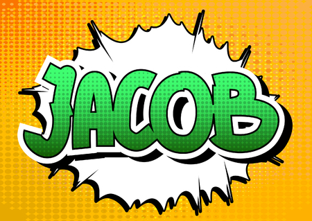 jacob: Jacob - Comic book style male name on comic book abstract background.