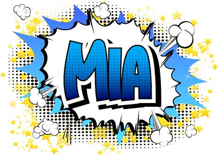 famous people: Mia - Comic book style female name on comic book abstract background.