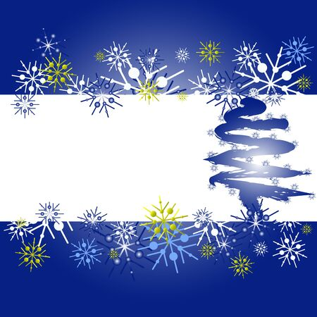 xmass: Christmas card with white, blue and gold snowflakes.