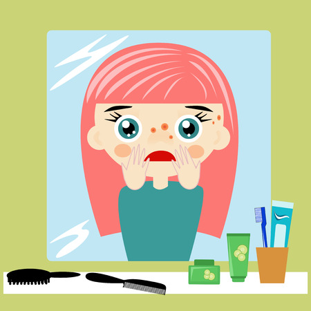 pus: Little girl is caring with her acne and she is sad.