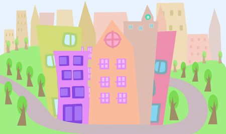 tall grass: Cityscape through childrens eyes Illustration