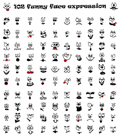 Vector illustration of 102 cartoon facial expression. Illustration