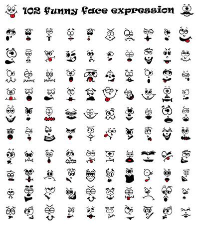 Vector illustration of 102 cartoon facial expression. Illusztráció
