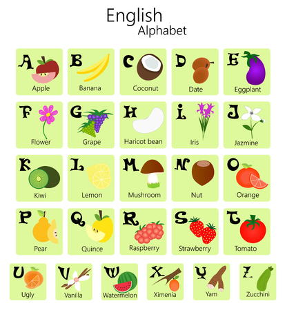 spelling book: Illustration of English alphabet from A to Z with fruits and vegetables.