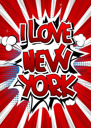 I love New York - Comic book style word on comic book abstract background. Illustration