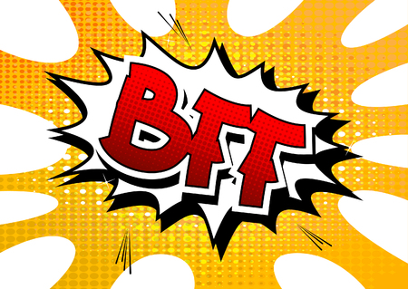 best friends forever: BFF - Comic book style word on comic book abstract background. Illustration