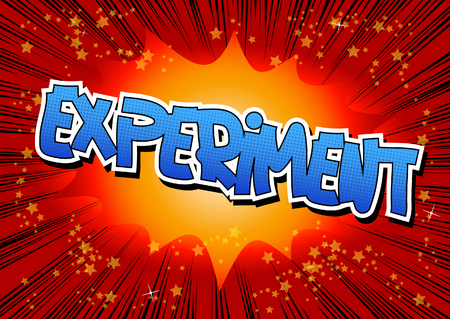 retro cartoon: Experiment - Comic book style word on comic book abstract background. Illustration